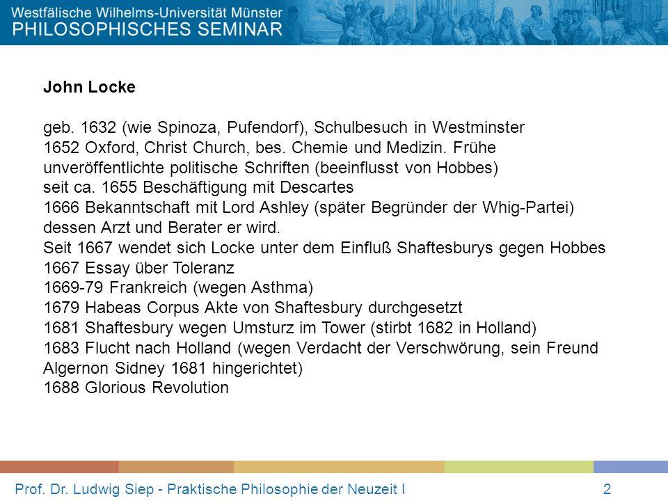 Prof. Dr. Ludwig Siep - Praktische Philosophie der Neuzeit I2 John Locke geb. 1632 (wie Spinoza, Pufendorf), Schulbesuch in Westminster 1652 Oxford, C