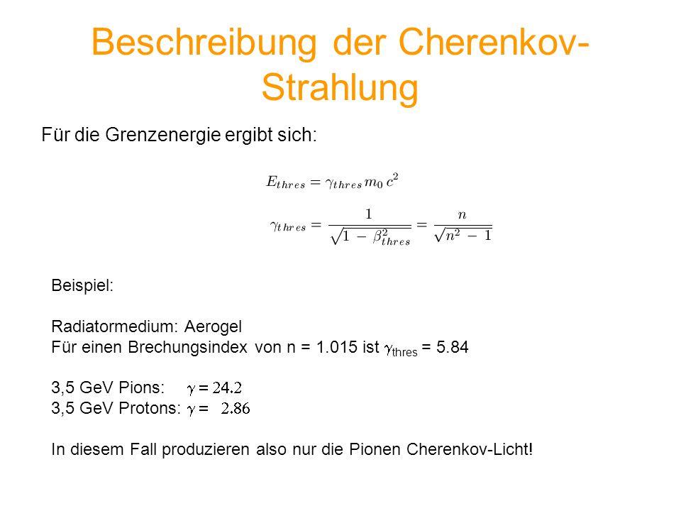 Beschreibung der Cherenkov- Strahlung Für die Grenzenergie ergibt sich: Beispiel: Radiatormedium: Aerogel Für einen Brechungsindex von n = 1.015 ist t