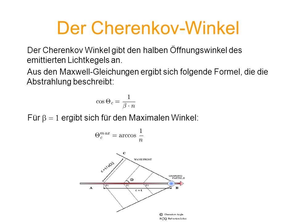Der Cherenkov-Winkel Der Cherenkov Winkel gibt den halben Öffnungswinkel des emittierten Lichtkegels an. Aus den Maxwell-Gleichungen ergibt sich folge