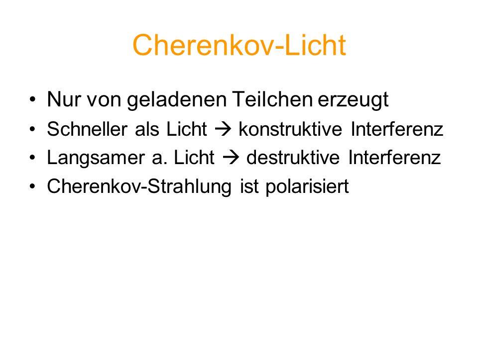 Cherenkov-Licht Nur von geladenen Teilchen erzeugt Schneller als Licht konstruktive Interferenz Langsamer a. Licht destruktive Interferenz Cherenkov-S