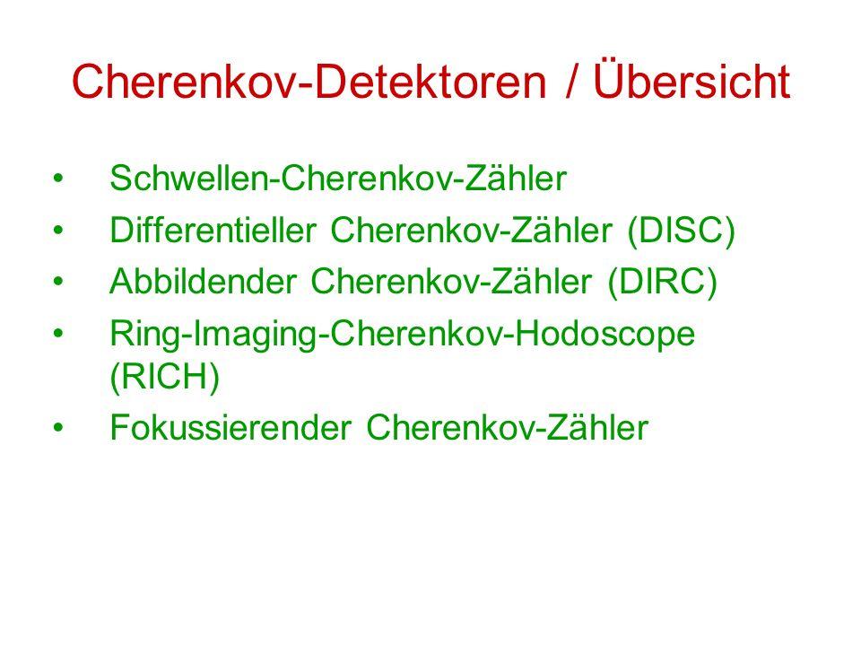 Cherenkov-Detektoren / Übersicht Schwellen-Cherenkov-Zähler Differentieller Cherenkov-Zähler (DISC) Abbildender Cherenkov-Zähler (DIRC) Ring-Imaging-C