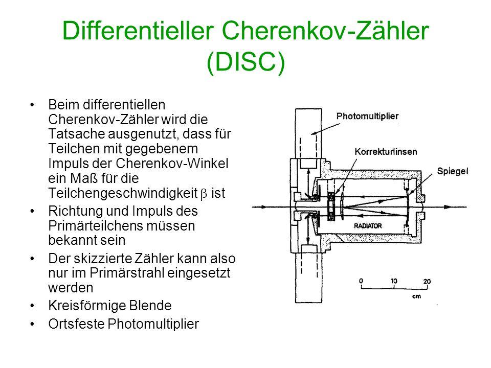 Differentieller Cherenkov-Zähler (DISC) Beim differentiellen Cherenkov-Zähler wird die Tatsache ausgenutzt, dass für Teilchen mit gegebenem Impuls der