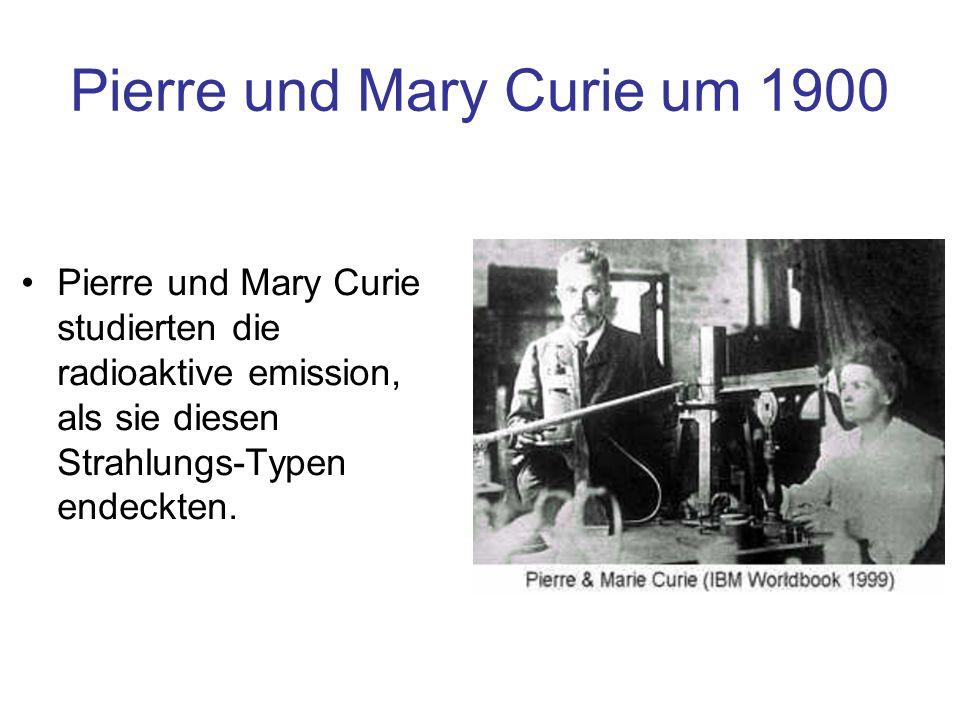 Pierre und Mary Curie um 1900 Pierre und Mary Curie studierten die radioaktive emission, als sie diesen Strahlungs-Typen endeckten.