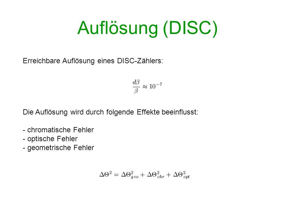 Auflösung (DISC) Erreichbare Auflösung eines DISC-Zählers: Die Auflösung wird durch folgende Effekte beeinflusst: - chromatische Fehler - optische Feh