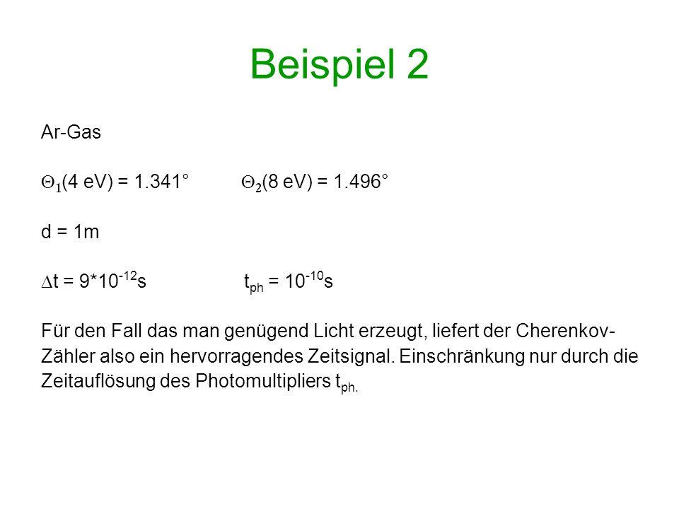 Beispiel 2 Ar-Gas (4 eV) = 1.341° (8 eV) = 1.496° d = 1m t = 9*10 -12 s t ph = 10 -10 s Für den Fall das man genügend Licht erzeugt, liefert der Chere