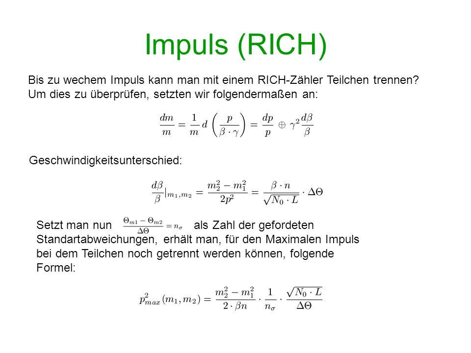 Impuls (RICH) Bis zu wechem Impuls kann man mit einem RICH-Zähler Teilchen trennen? Um dies zu überprüfen, setzten wir folgendermaßen an: Geschwindigk