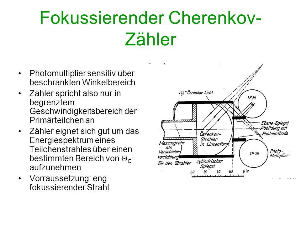 Fokussierender Cherenkov- Zähler Photomultiplier sensitiv über beschränkten Winkelbereich Zähler spricht also nur in begrenztem Geschwindigkeitsbereic