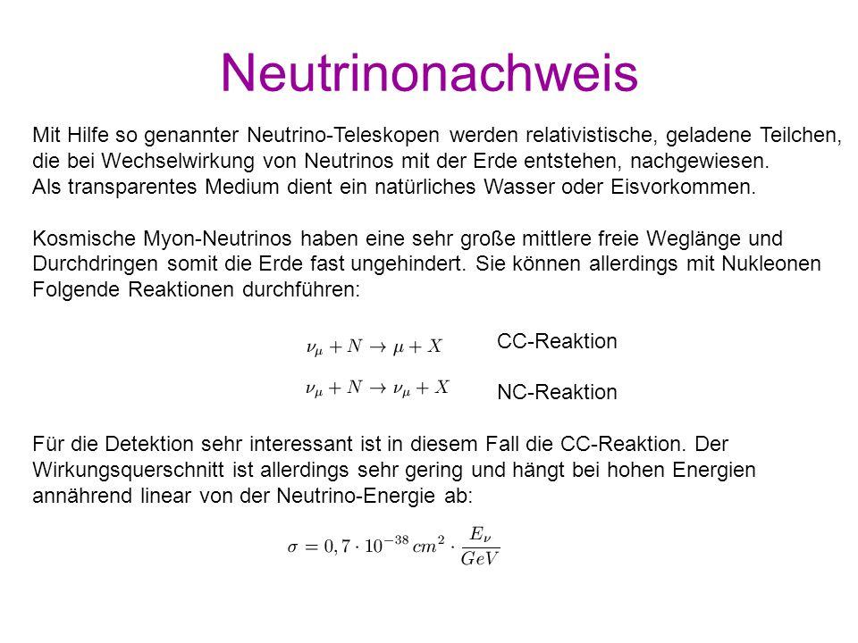 Neutrinonachweis Mit Hilfe so genannter Neutrino-Teleskopen werden relativistische, geladene Teilchen, die bei Wechselwirkung von Neutrinos mit der Er