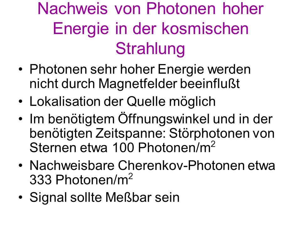 Nachweis von Photonen hoher Energie in der kosmischen Strahlung Photonen sehr hoher Energie werden nicht durch Magnetfelder beeinflußt Lokalisation de