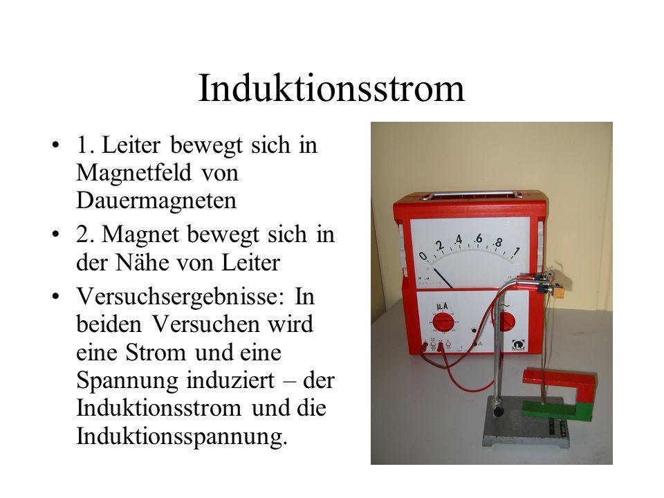 Induktionsstrom 1. Leiter bewegt sich in Magnetfeld von Dauermagneten 2. Magnet bewegt sich in der Nähe von Leiter Versuchsergebnisse: In beiden Versu