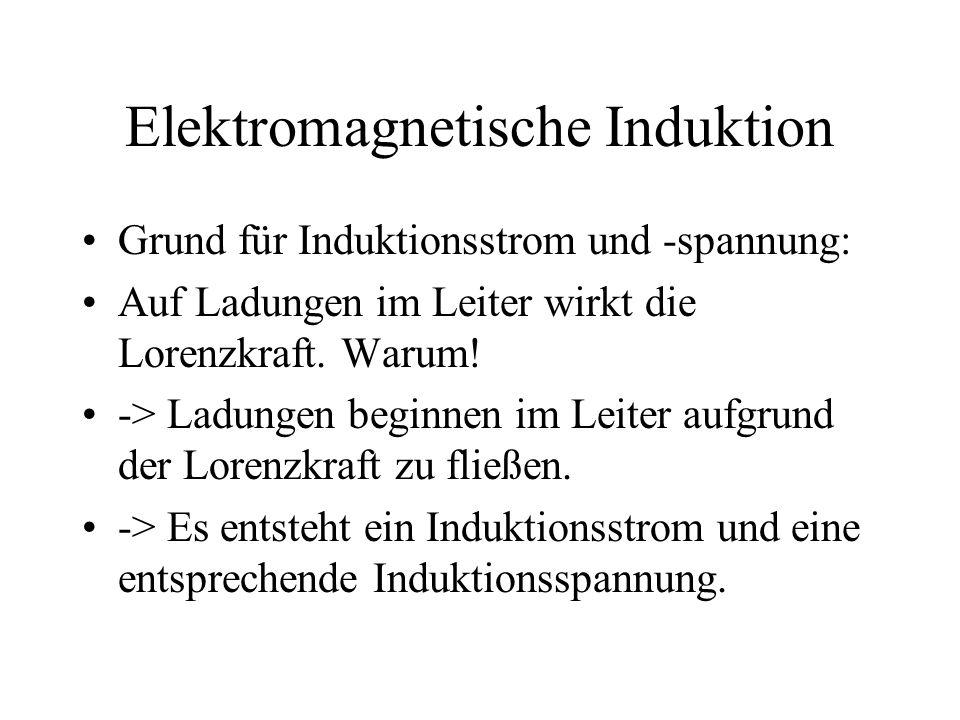 Elektromagnetische Induktion Grund für Induktionsstrom und -spannung: Auf Ladungen im Leiter wirkt die Lorenzkraft. Warum! -> Ladungen beginnen im Lei