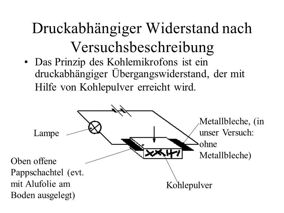 Druckabhängiger Widerstand nach Versuchsbeschreibung Das Prinzip des Kohlemikrofons ist ein druckabhängiger Übergangswiderstand, der mit Hilfe von Koh