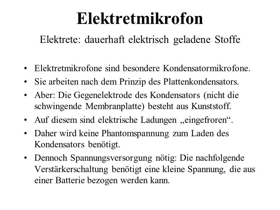 Elektretmikrofon Elektrete: dauerhaft elektrisch geladene Stoffe Elektretmikrofone sind besondere Kondensatormikrofone. Sie arbeiten nach dem Prinzip