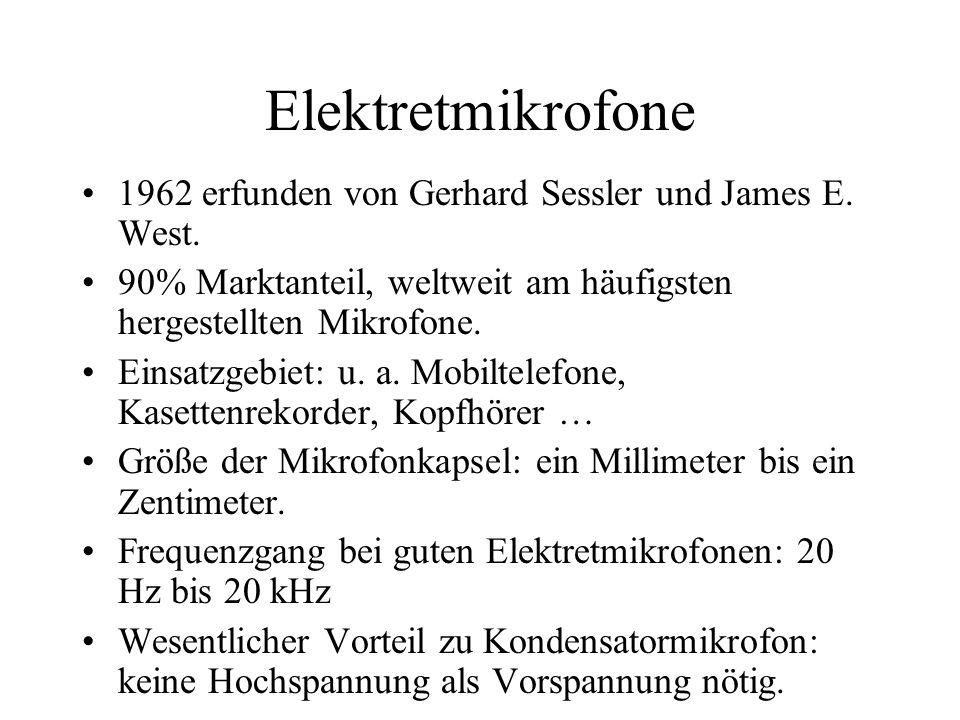 Elektretmikrofone 1962 erfunden von Gerhard Sessler und James E. West. 90% Marktanteil, weltweit am häufigsten hergestellten Mikrofone. Einsatzgebiet: