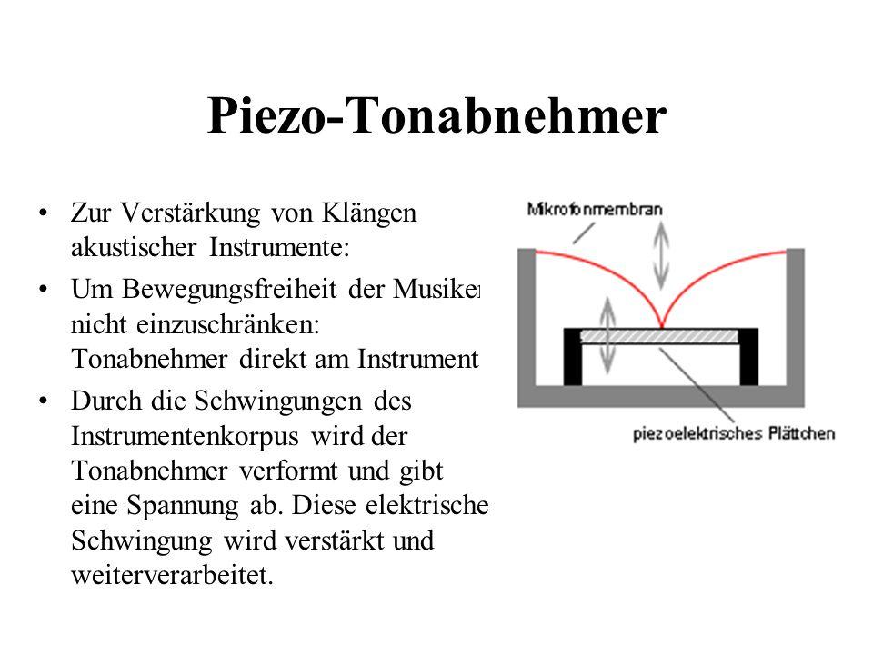 Piezo-Tonabnehmer Zur Verstärkung von Klängen akustischer Instrumente: Um Bewegungsfreiheit der Musiker nicht einzuschränken: Tonabnehmer direkt am In