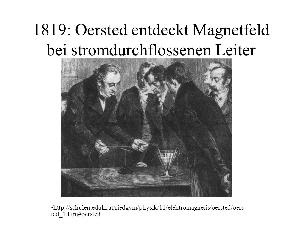 1819: Oersted entdeckt Magnetfeld bei stromdurchflossenen Leiter http://schulen.eduhi.at/riedgym/physik/11/elektromagnetis/oersted/oers ted_1.htm#oersted