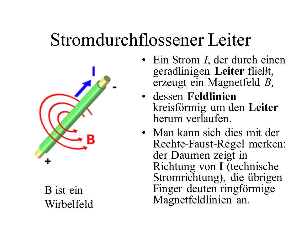 Stromdurchflossener Leiter Ein Strom I, der durch einen geradlinigen Leiter fließt, erzeugt ein Magnetfeld B, dessen Feldlinien kreisförmig um den Lei