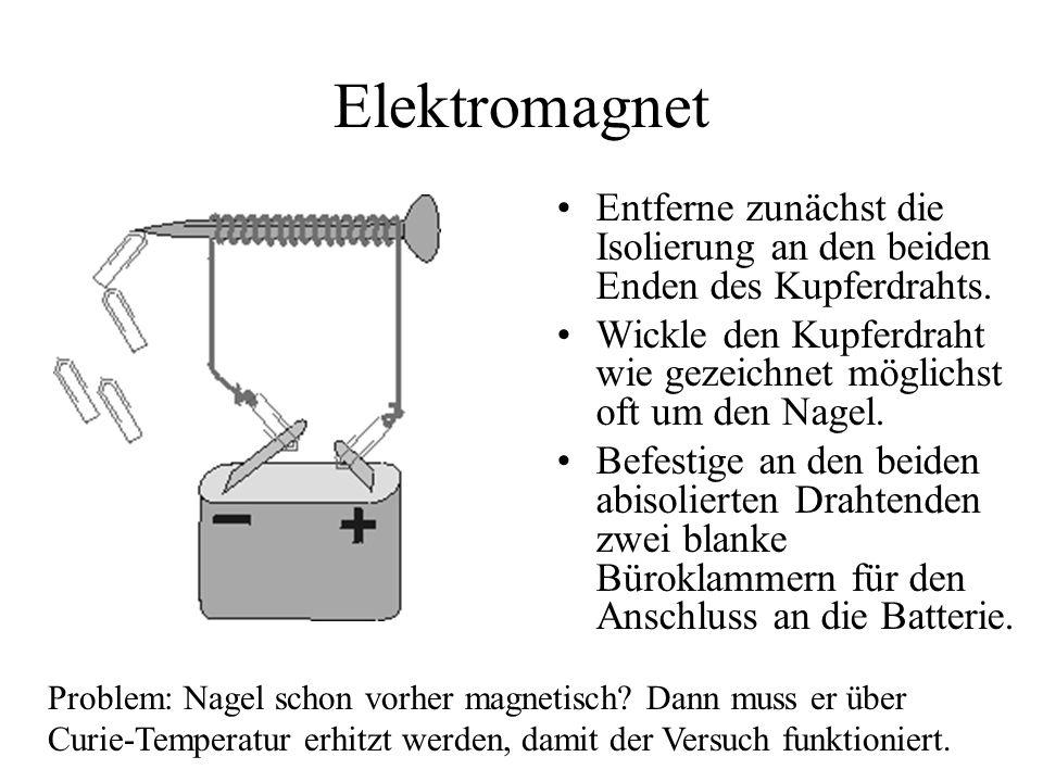 Elektromagnet Entferne zunächst die Isolierung an den beiden Enden des Kupferdrahts. Wickle den Kupferdraht wie gezeichnet möglichst oft um den Nagel.