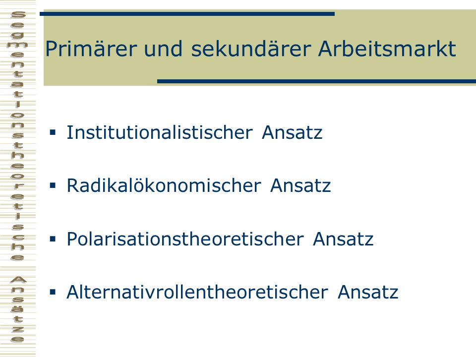 Primärer und sekundärer Arbeitsmarkt Institutionalistischer Ansatz Radikalökonomischer Ansatz Polarisationstheoretischer Ansatz Alternativrollentheore