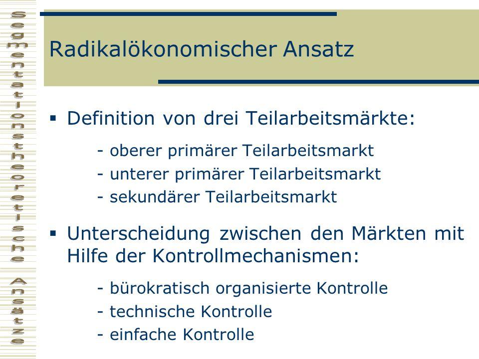 Radikalökonomischer Ansatz Definition von drei Teilarbeitsmärkte: - oberer primärer Teilarbeitsmarkt - unterer primärer Teilarbeitsmarkt - sekundärer