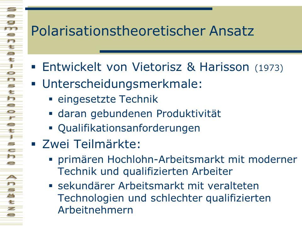 Polarisationstheoretischer Ansatz Entwickelt von Vietorisz & Harisson (1973) Unterscheidungsmerkmale: eingesetzte Technik daran gebundenen Produktivit