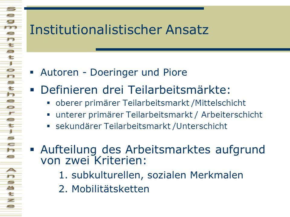 Institutionalistischer Ansatz Autoren - Doeringer und Piore Definieren drei Teilarbeitsmärkte: oberer primärer Teilarbeitsmarkt /Mittelschicht unterer