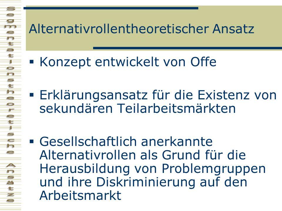 Alternativrollentheoretischer Ansatz Konzept entwickelt von Offe Erklärungsansatz für die Existenz von sekundären Teilarbeitsmärkten Gesellschaftlich