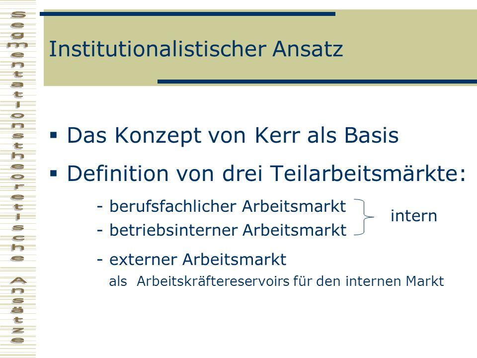 Institutionalistischer Ansatz Das Konzept von Kerr als Basis Definition von drei Teilarbeitsmärkte: - berufsfachlicher Arbeitsmarkt - betriebsinterner