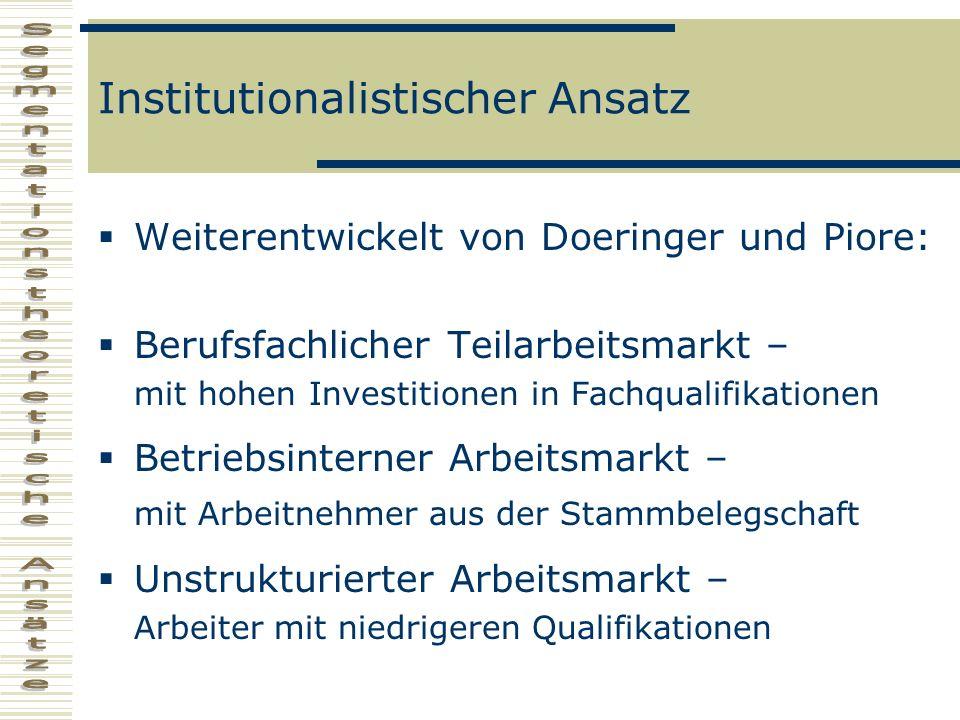 Institutionalistischer Ansatz Weiterentwickelt von Doeringer und Piore: Berufsfachlicher Teilarbeitsmarkt – mit hohen Investitionen in Fachqualifikati
