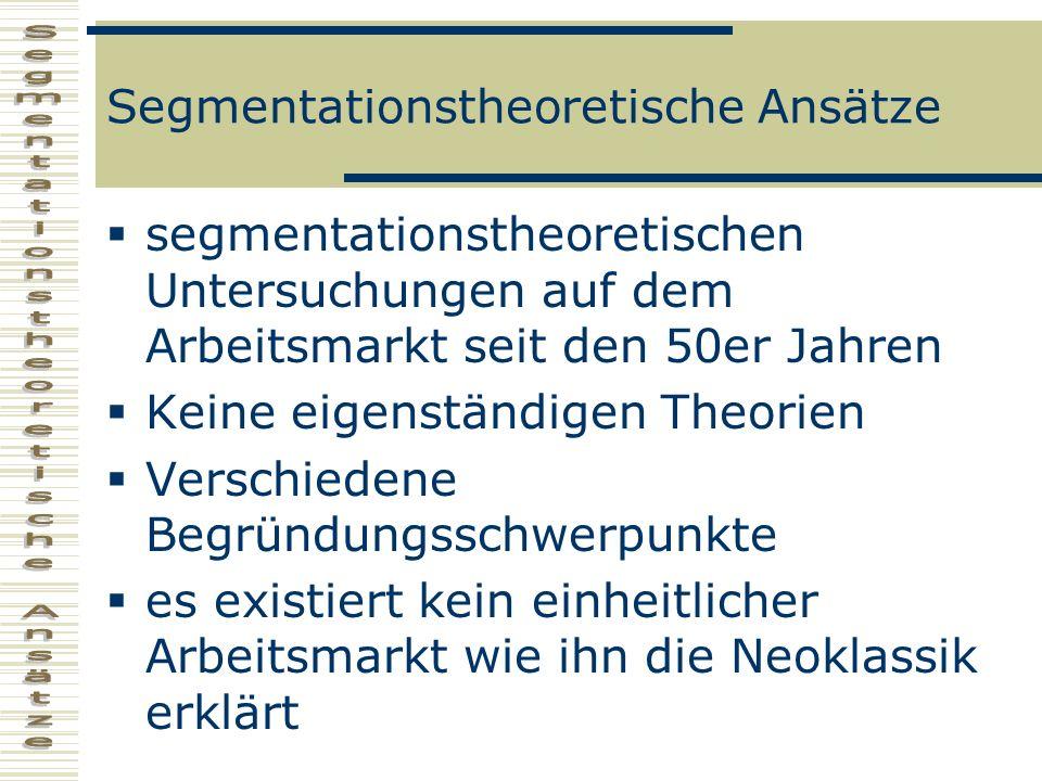 Segmentationstheoretische Ansätze segmentationstheoretischen Untersuchungen auf dem Arbeitsmarkt seit den 50er Jahren Keine eigenständigen Theorien Ve