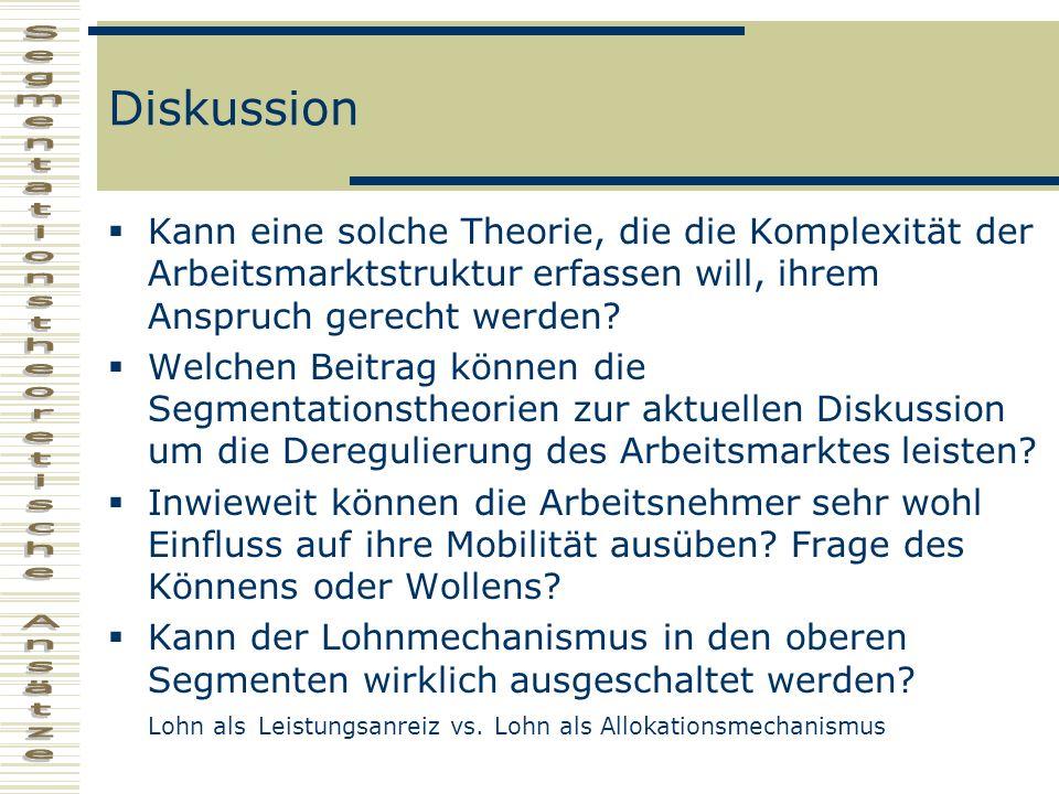 Diskussion Kann eine solche Theorie, die die Komplexität der Arbeitsmarktstruktur erfassen will, ihrem Anspruch gerecht werden? Welchen Beitrag können
