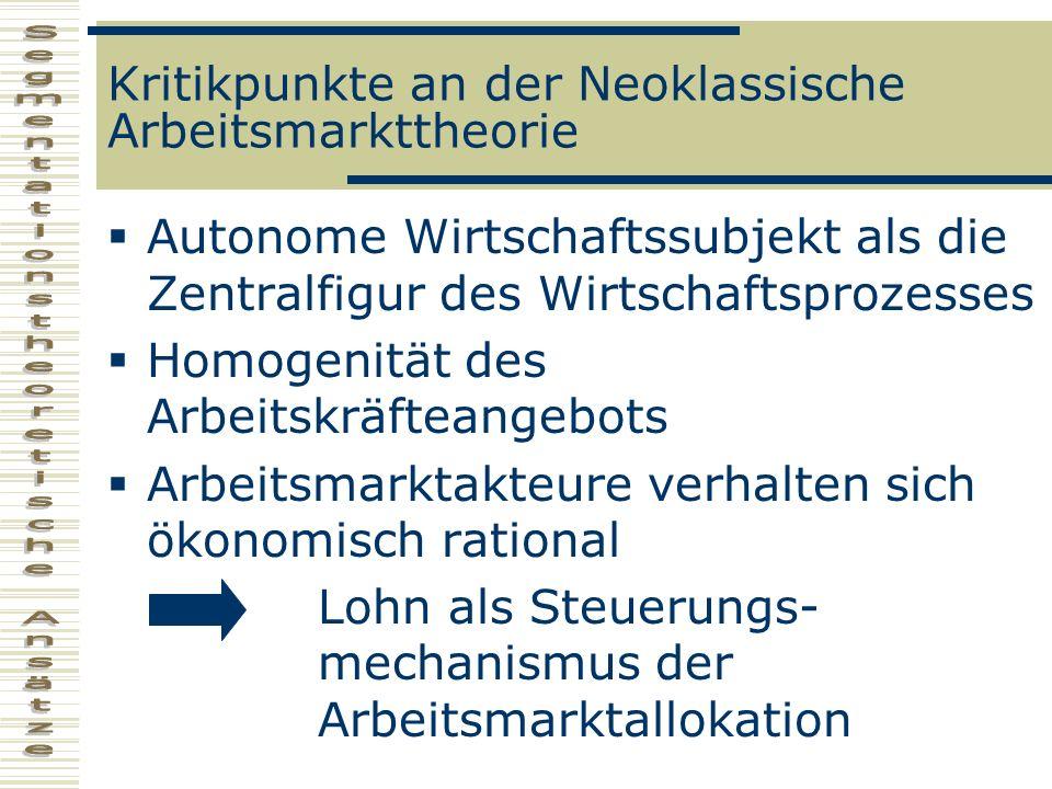 Gemeinsame Vorstellungen der Segmentationstheorien maßgeblicher Einfluss der Gesellschafts- und Wirtschaftsstrukturen auf das Arbeitsmarktgeschehen Somit ist das autonome Handeln schwer oder gar unmöglich Nicht- ökonomische Einflüsse müssen erfasst werden