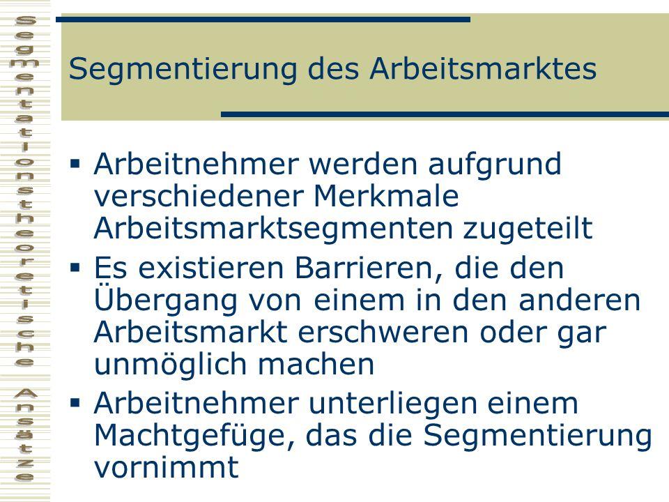 Definition Strukturierung des Arbeitsmarktes in mehrere, nebeneinander bestehende Segmente, die jeweils für mehr oder weniger große Gruppen von Arbeitskraftanbietern nicht oder kaum zugänglich sind, und auf denen die Regelung der internen Allokation, Gratifizierung und Qualifizierung unterschiedlichen institutionellen Steuerungsmedien gehorcht, die nicht durch den (Preis-) Lohnmechanismus determiniert sind.