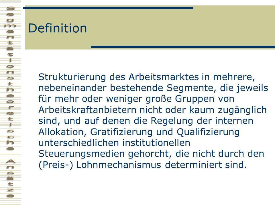 Definition Strukturierung des Arbeitsmarktes in mehrere, nebeneinander bestehende Segmente, die jeweils für mehr oder weniger große Gruppen von Arbeit