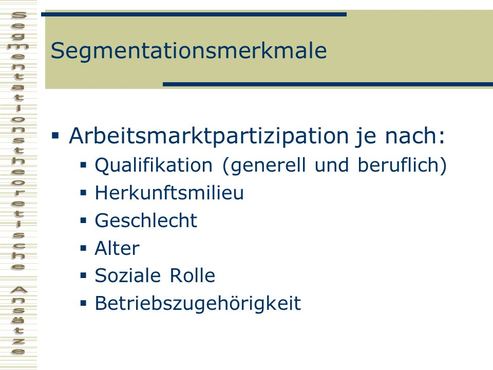 Segmentationsmerkmale Arbeitsmarktpartizipation je nach: Qualifikation (generell und beruflich) Herkunftsmilieu Geschlecht Alter Soziale Rolle Betrieb