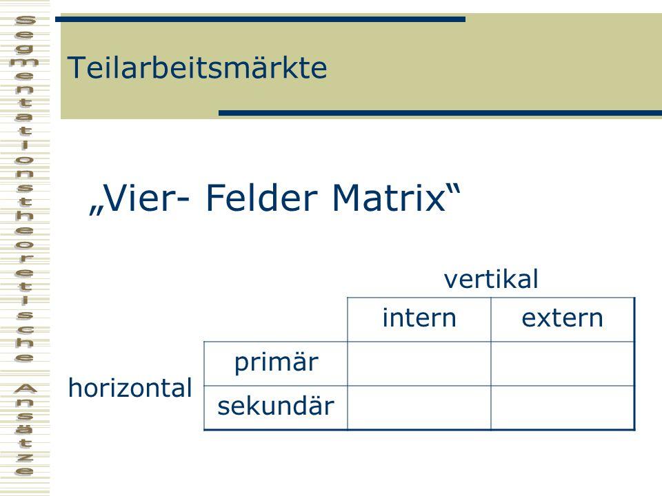 Teilarbeitsmärkte vertikal internextern horizontal primär sekundär Vier- Felder Matrix