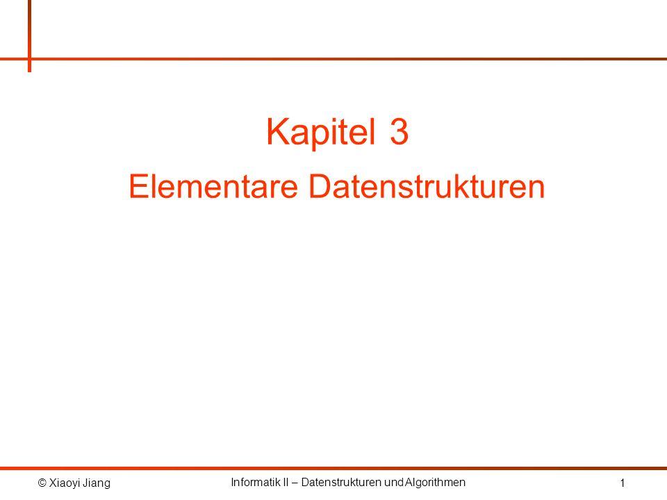 © Xiaoyi Jiang Informatik II – Datenstrukturen und Algorithmen 12 3.2 Verkettete Listen public class ListNode { private E element = null; private ListNode next = null; public ListNode() { }; public ListNode(E element) { this.element = element; } headtail null e1e1 e2e2 eiei...