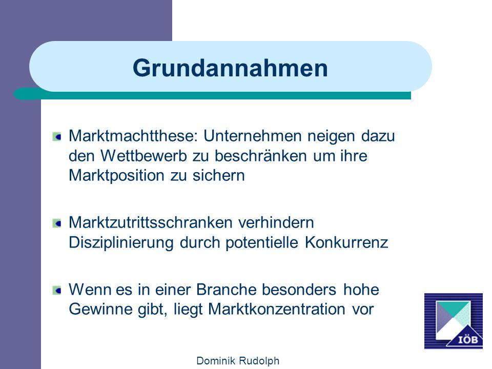 Dominik Rudolph Grundannahmen Marktmachtthese: Unternehmen neigen dazu den Wettbewerb zu beschränken um ihre Marktposition zu sichern Marktzutrittssch