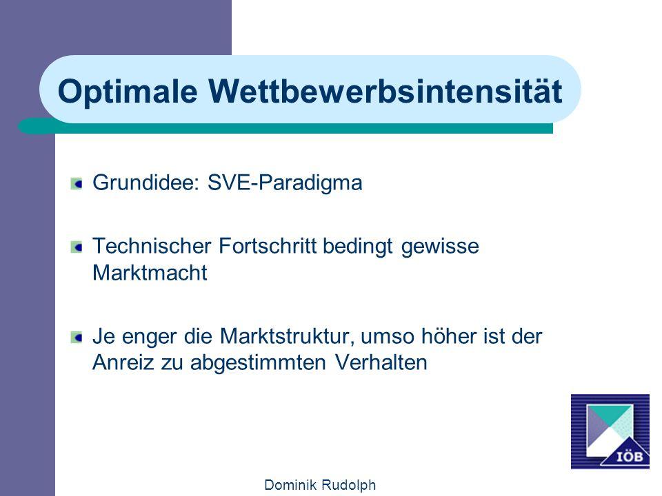 Dominik Rudolph Optimale Wettbewerbsintensität Grundidee: SVE-Paradigma Technischer Fortschritt bedingt gewisse Marktmacht Je enger die Marktstruktur,