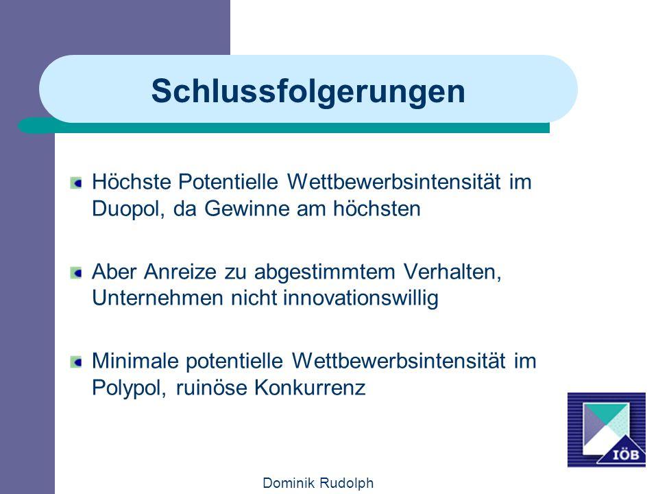 Dominik Rudolph Schlussfolgerungen Höchste Potentielle Wettbewerbsintensität im Duopol, da Gewinne am höchsten Aber Anreize zu abgestimmtem Verhalten, Unternehmen nicht innovationswillig Minimale potentielle Wettbewerbsintensität im Polypol, ruinöse Konkurrenz