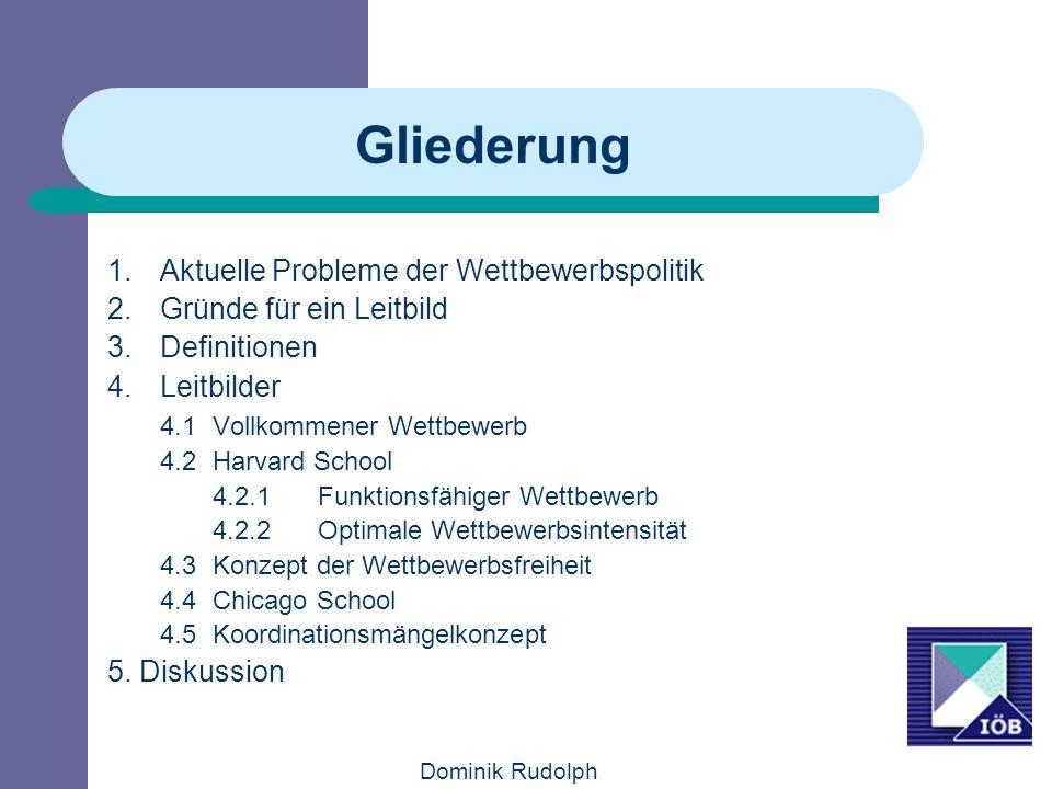 Dominik Rudolph Gliederung 1.Aktuelle Probleme der Wettbewerbspolitik 2.Gründe für ein Leitbild 3.Definitionen 4.Leitbilder 4.1 Vollkommener Wettbewer