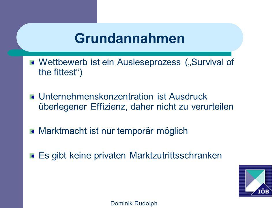 Dominik Rudolph Grundannahmen Wettbewerb ist ein Ausleseprozess (Survival of the fittest) Unternehmenskonzentration ist Ausdruck überlegener Effizienz