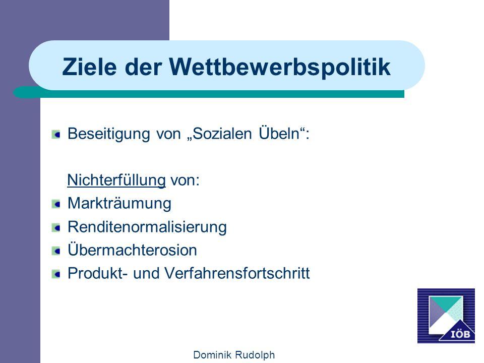 Dominik Rudolph Ziele der Wettbewerbspolitik Beseitigung von Sozialen Übeln: Nichterfüllung von: Markträumung Renditenormalisierung Übermachterosion Produkt- und Verfahrensfortschritt