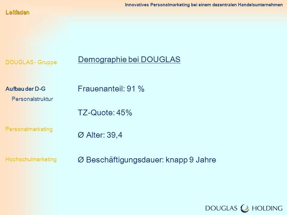 Innovatives Personalmarketing bei einem dezentralen Handelsunternehmen Demographie bei DOUGLAS Frauenanteil: 91 % TZ-Quote: 45% Ø Beschäftigungsdauer: