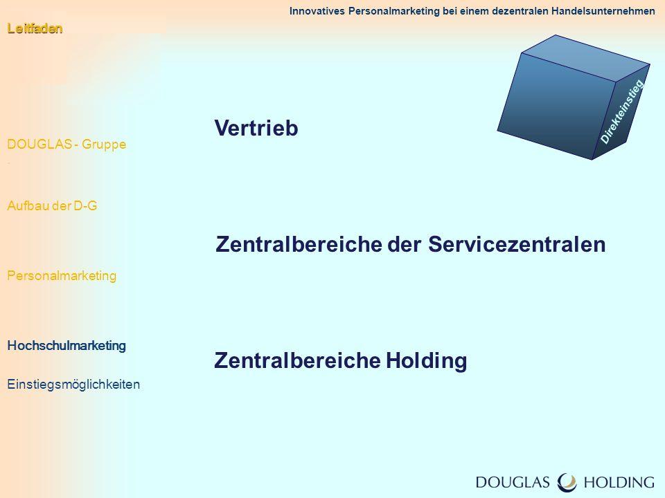 Innovatives Personalmarketing bei einem dezentralen Handelsunternehmen Vertrieb Zentralbereiche der Servicezentralen Zentralbereiche Holding Direktein