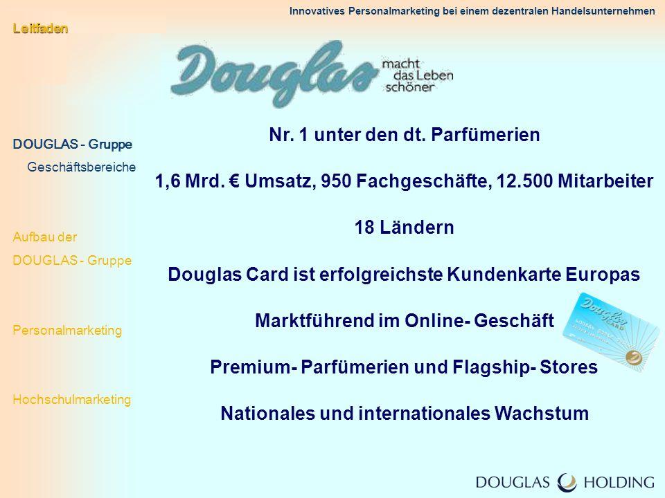 Innovatives Personalmarketing bei einem dezentralen Handelsunternehmen Vertrieb Zentralbereiche der Servicezentralen Zentralbereiche Holding Direkteinstieg Leitfaden DOUGLAS - Gruppe.