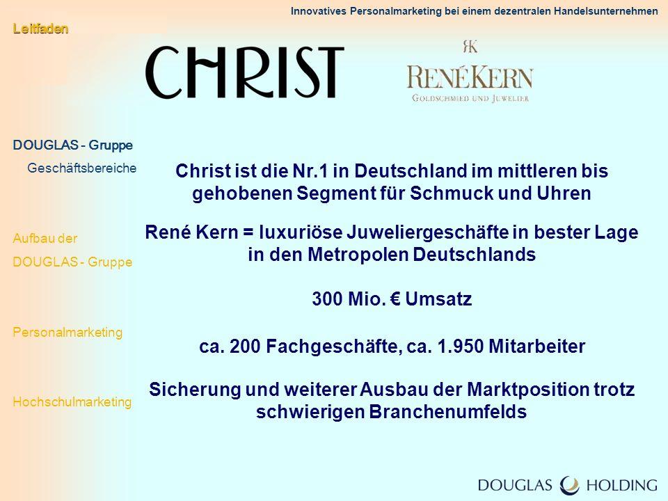 Innovatives Personalmarketing bei einem dezentralen Handelsunternehmen Rang Unternehmen Prozent 1 BMW Group 11,2 % Top- Arbeitgeber 2006 (insgesamt 123 untersuchte Unternehmen) 2 Porsche AG 9,1 % 3 Siemens 8,3 % 5 KPMG 7,6 % 7 adidas AG 6,7 % 5 Price Waterhouse Coopers 7,6 % 4 Ernst & Young 8,0 % 8 AUDI AG 6,5 % 8 Deutsche Lufthansa AG 6,5 % 10 DaimlerChrysler AG 6,4 % 11 Deutsche Bank AG 6,1 % 12 Auswärtiges Amt 5,4 % 13 Mc Kinsey & Company 5,0 % 14 IKEA Deutschland 4,6 % 27 ALDI SÜD 2,8 % 27 Tchibo 2,8 % 33 METRO Group 2,5 % 44 Peek & Cloppenburg 1,9 % 67 DOUGLAS-Gruppe 1,2 %......