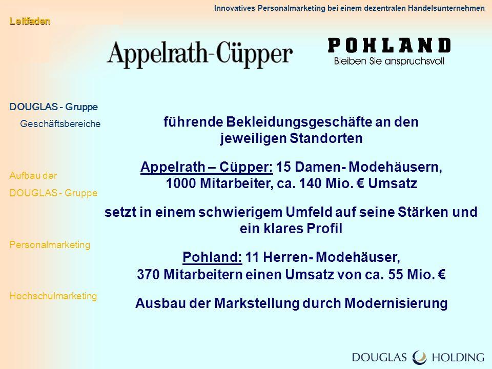 Innovatives Personalmarketing bei einem dezentralen Handelsunternehmen führende Bekleidungsgeschäfte an den jeweiligen Standorten Appelrath – Cüpper: