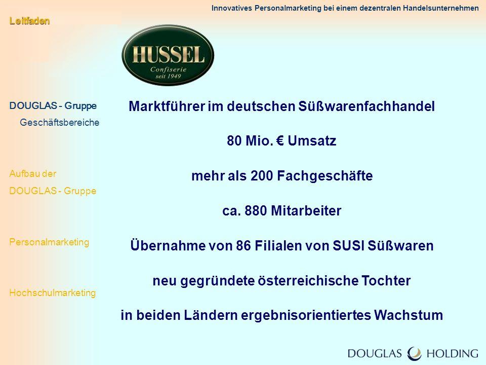 Innovatives Personalmarketing bei einem dezentralen Handelsunternehmen Marktführer im deutschen Süßwarenfachhandel 80 Mio. Umsatz mehr als 200 Fachges