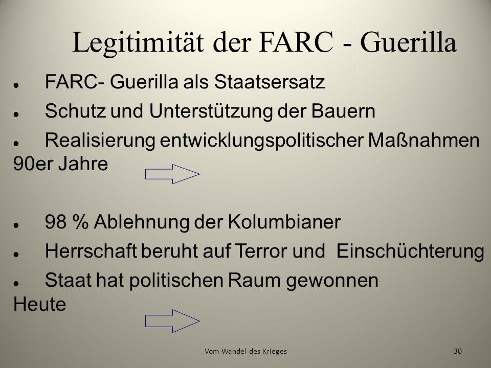 Legitimität der FARC - Guerilla FARC- Guerilla als Staatsersatz Schutz und Unterstützung der Bauern Realisierung entwicklungspolitischer Maßnahmen 90e